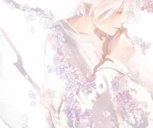 anime, flowers, and white hair image