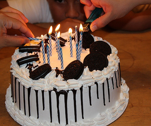 cake, candle, and fire image