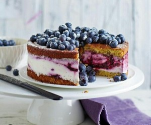 blueberry, dessert, and cake image