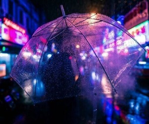 rain, neon, and purple image