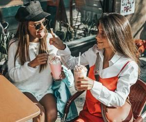 amigas, fashion, and icecream image