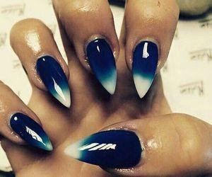 blue, nails, and dégradé image