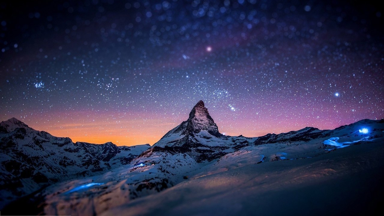 mountain, sky, and stars image
