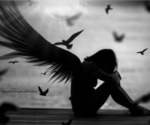 alone, broken angel, and girl image