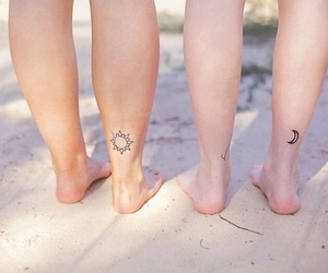 moon, sun, and small tattoo image