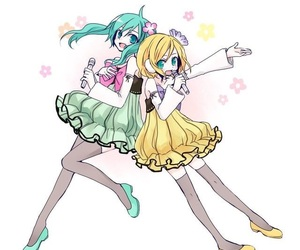 hatsune miku, kagamine rin, and kawaii image