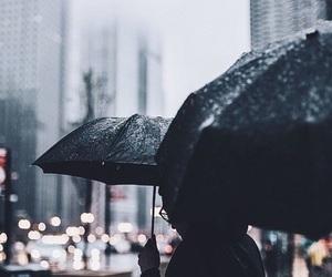 rain, umbrella, and city image
