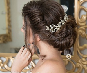 bride, hair, and wedding image