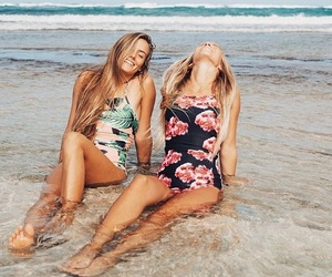 beach, friendship, and laugh image