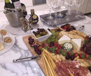 food, cheese, and wine image