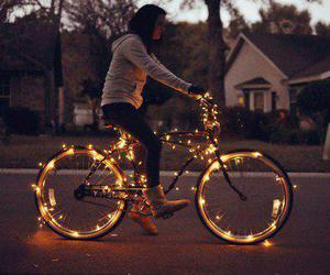 bycicle, lights, and night image