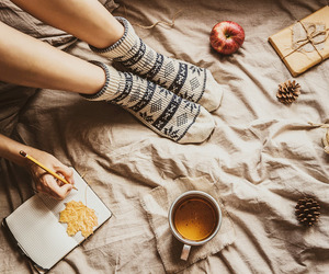 fall, autumn, and tea image