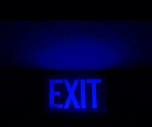 blue, exit, and aesthetic image