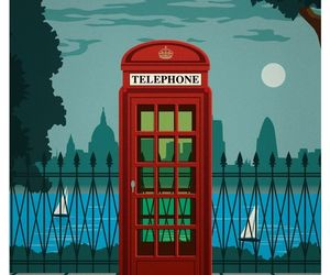london, phone booth, and poster image