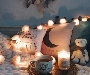 light, bed, and candle image