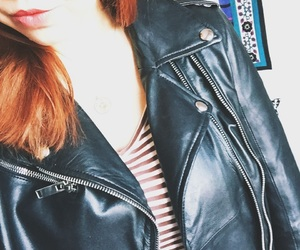 biker, girl, and leather image