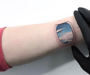 tattoo, airplane, and sky image
