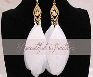 etsy, gold earrings, and feather earrings image
