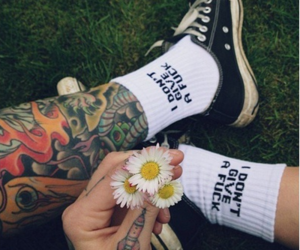 tattoo, flowers, and converse image