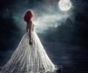 full moon and redhead white dress image