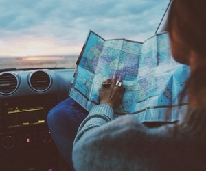car, map, and open road image