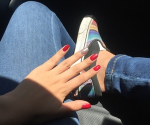 jeans, nails, and red image