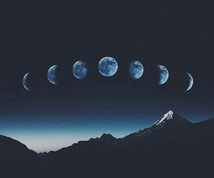 blue, moon, and outerspace image