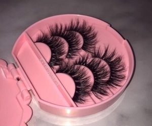 lashes, pink, and makeup image
