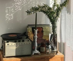 candles, plant, and record player image