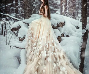 snow, winter, and dress image