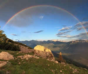 nature, rainbow, and mountains image