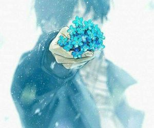 flowers, anime, and blue image