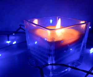 blue, candle, and dark image