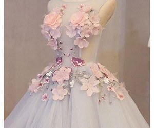 a-line, floral, and tulle image