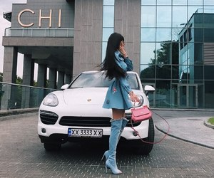 car, girl, and jeans image