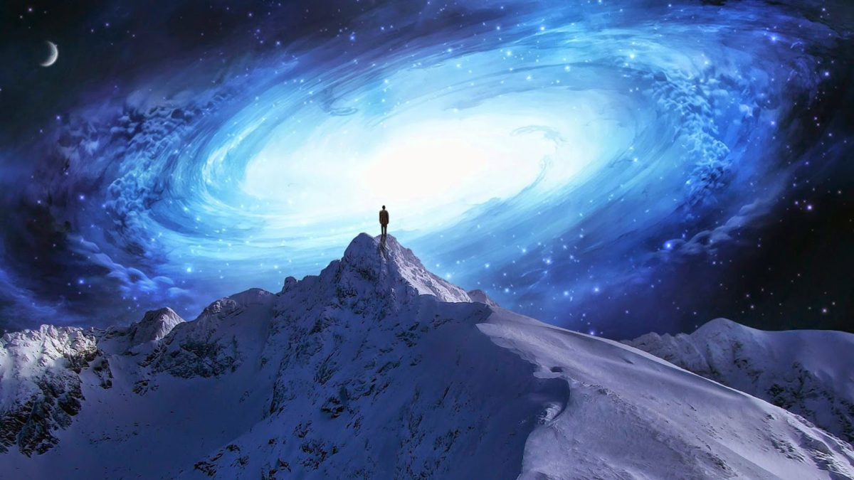 galaxy, alone, and mountain image