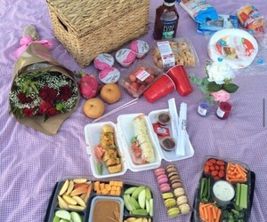 food, picnic, and flowers image
