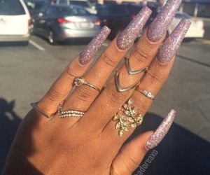 acrylics, rings, and glitter image