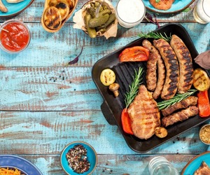 grill, vegetables, and meat image