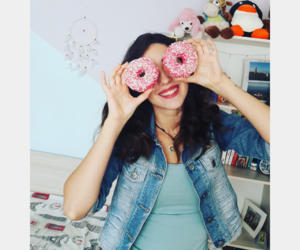 blue, donuts, and pink image