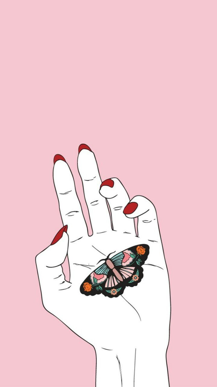 pink, butterfly, and hand image