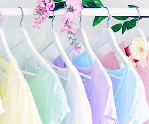pastel, flowers, and clothes image