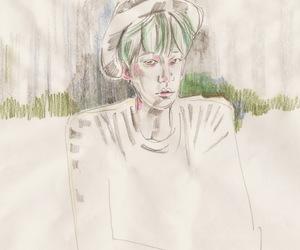 art, green, and illust image