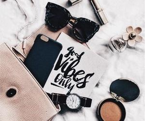 bag, makeup, and glasses image