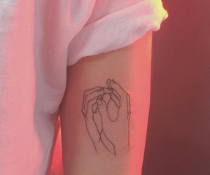 tattoo, pink, and hands image