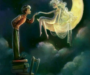 moon, art, and book image