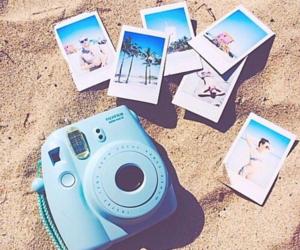 beach, summer, and polaroid image