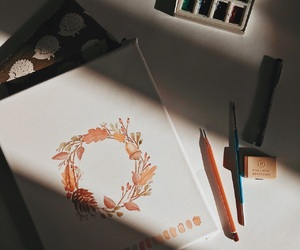 artists, autumn, and drawing image