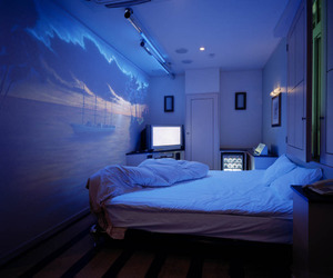 room, blue, and bedroom image