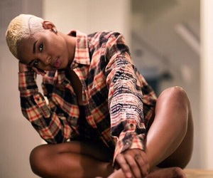 blonde, shaved head, and melanin image